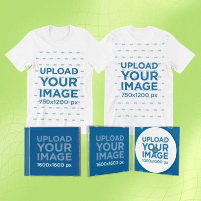 Merch Bundle Mockup Featuring Round Neck T-Shirts and CD Jewel Cases 43334-r-el2
