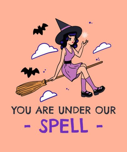 Halloween T-Shirt Design Creator Featuring a Witch in a Flying Broom 2898d