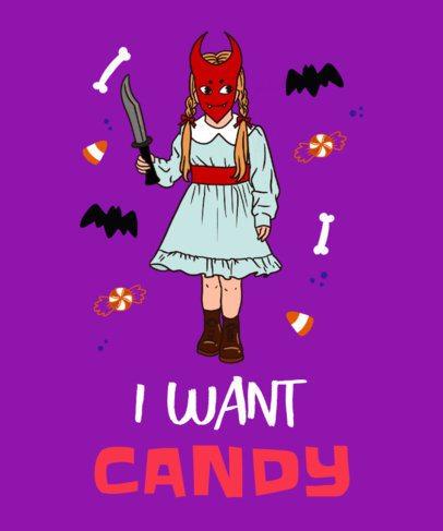 Halloween T-Shirt Design Template with a Creepy Girl Illustration 2898g