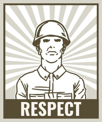 T-Shirt Design Maker Featuring a Soldier's Illustration 2a