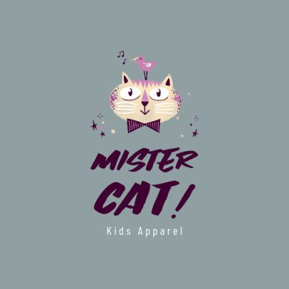 Kids' Boutique Logo Maker with a Cute Cat Illustration 3660a