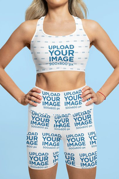 Sports Bra Mockup of a Woman Wearing Sublimated Bike Shorts at a Studio 42341