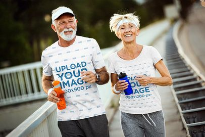 T-Shirt Mockup of a Senior Man and a Woman Running on a Sidewalk 41013-r-el2