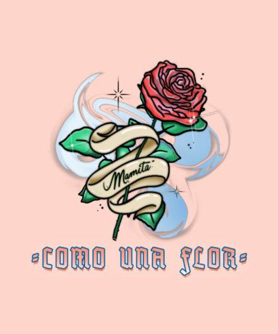 T-Shirt Design Creator with a Spanish Quote and an Airbrush Illustration of a Rose 2941d