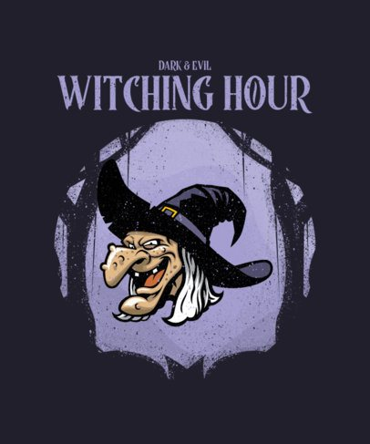 Illustrated Halloween T-Shirt Design Generator Featuring an Old Witch 2858c-el1