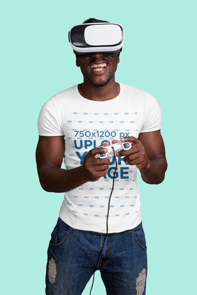 T-Shirt Mockup of a Fit Man Playing a VR Game 42595-r-el2
