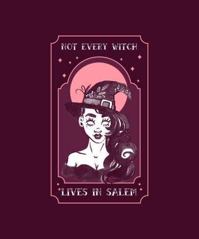 Witchcraft-Themed T-Shirt Design Generator Featuring a Salem Witch 2856e-el1