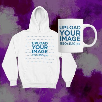 Merch Bundle Mockup Featuring a Pullover Hoodie Along with an 11 oz Mug 43426-r-el2