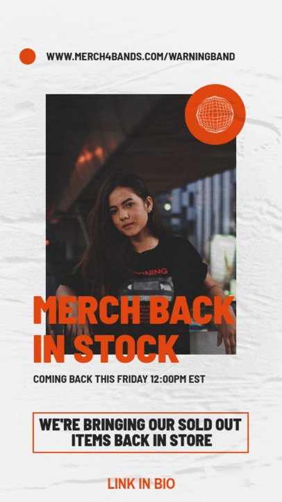 Instagram Story Template for a Rock Music Artist's Merch Restock Announcement 2867d-el1