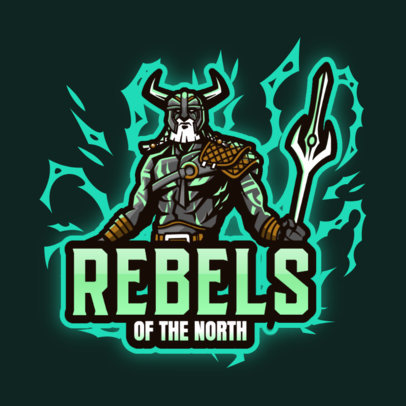 Illustrated Logo Template with a Lightning Nordic Warrior 3650d