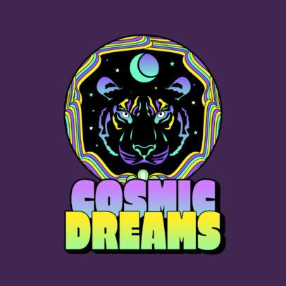 Music Logo Creator Featuring a Psychedelic Tiger for Trance DJs 3655b