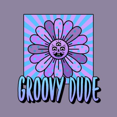 Logo Generator for an Oldies Music Channel with a Psychedelic Flower Illustration 3655e