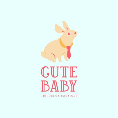 Kids' Boutique Logo Template with a Cute Bunny Illustration 3650g