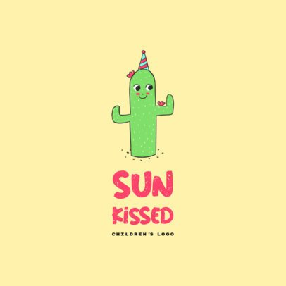 Logo Maker for a Children's Clothing Brand with a Smiling Cactus Illustration 3660g