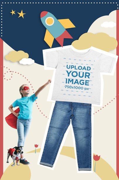 Collage Mockup of a Heather T-Shirt for Children 42437-r-el2
