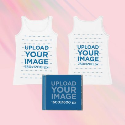 Merch Bundle Mockup of a Both Sides-View Tank Top and a CD Case Against a Tie Dye Surface 43401-r-el2