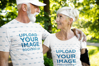 T-Shirt Mockup of a Senior Couple Working Out in Nature Together 41444-r-el2
