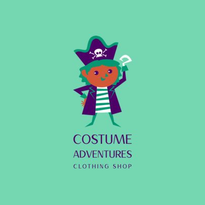 Logo Maker for a Children's Clothing Brand with a Colorful Pirate Illustration 3660i
