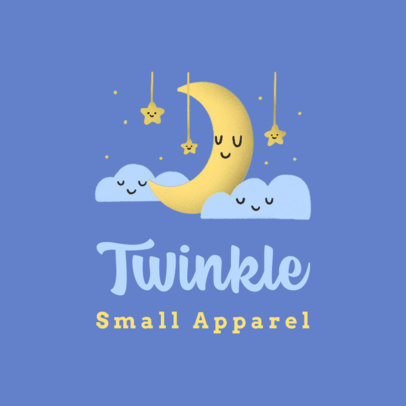 Logo Maker for Kids' Apparel Brands Featuring Moon and Stars Graphics 3660n