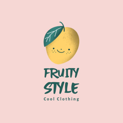 Illustrated Logo Generator for a Kids' Clothing Brand Featuring a Mango Clipart 3660o