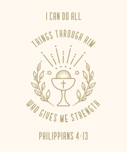 T-Shirt Design Template Featuring Christian Quotes 2964