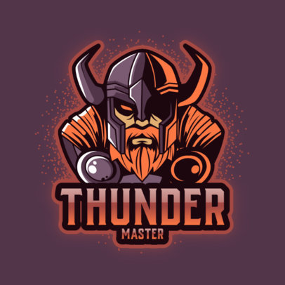Gaming Logo Template Featuring a Thunder Nordic God Graphic 3650f