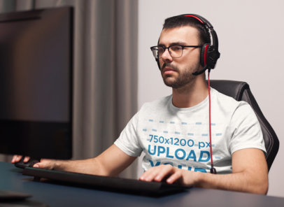T-Shirt Mockup Featuring a Developer Using a Computer 42586-r-el2