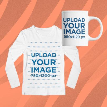 Merch Bundle Mockup Featuring an 11 oz Mug and a Front-Facing Long Sleeve Tee 43357-r-el2