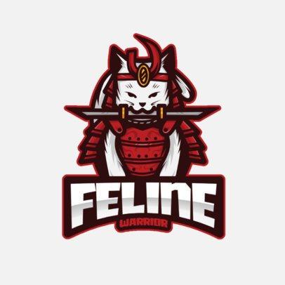Logo Maker for a Gaming Squad Featuring a Samurai Cat Illustration 2930b-el1