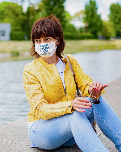 Face Mask Mockup of a Woman Sitting by a River 42874-r-el2