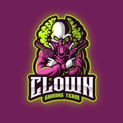 Gaming Team Logo Maker Featuring a Horror Clown with Guns 2943e-el1