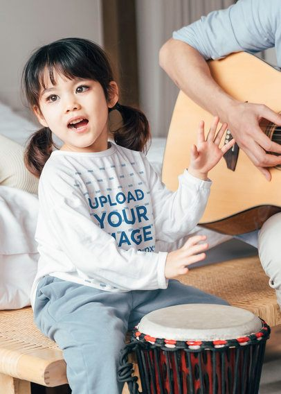 Mockup of a Little Girl Playing Music with Her Dad 41857-r-el2