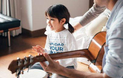 Long Sleeve Tee Mockup of a Girl Playing Music With Her Parents 41861-r-el2