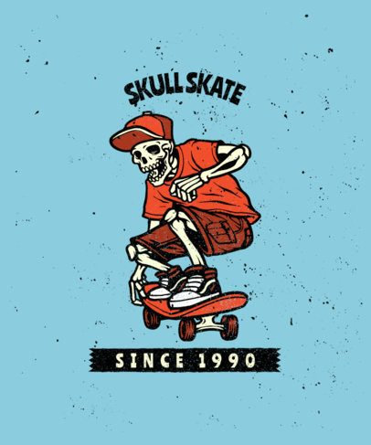 T-Shirt Design Template with a Vintage Look for Skaters 2934-el1