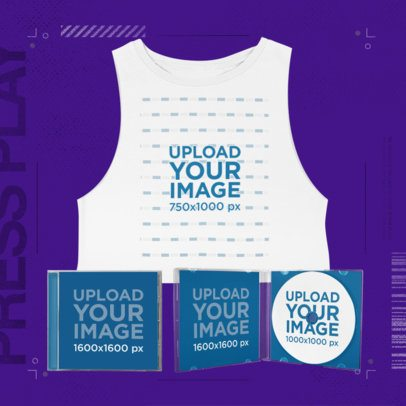 Mockup of a Merch Bundle of a Cropped Sleeveless Tee with a CD Jewel Case 43407-r-el2
