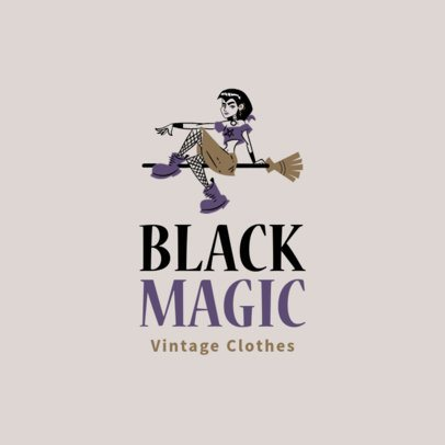 Free Logo Maker for Vintage Apparel Stores Featuring a Witch Clipart 3695l