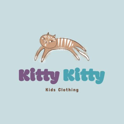Free Kids' Clothing Brand Logo Maker Featuring a Cat Illustration 3695r