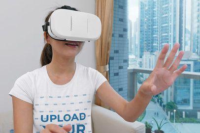 T-Shirt Mockup of a Woman Using a VR Device 41893-r-el2