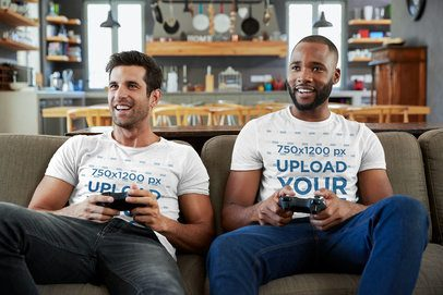 T-Shirt Mockup of Two Men Casually Playing Video Games 42790-r-el2