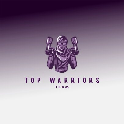 Free Logo Maker Featuring a Futuristic Warrior with Two Guns 3693o