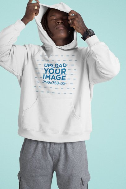 Pullover Hoodie Mockup Featuring a Man With His Eyes Closed 42979