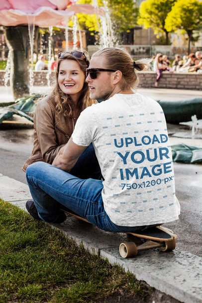 Back-View T-Shirt Mockup of a Man with His Girlfriend 43347-r-el2