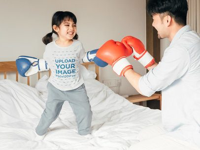 T-Shirt Mockup of a Little Girl Boxing with Her Dad 41958-r-el2