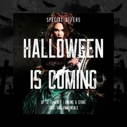 Halloween-Themed Instagram Post Template for a Special Discount Announcement 2967f