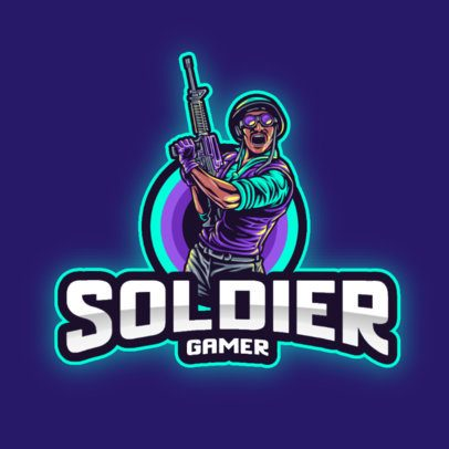 Illustrated Gaming Logo Maker Featuring a Rebellious Soldier Graphic 2939g-el1