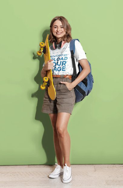 T-Shirt Mockup Featuring Young Female Skater Posing at a Studio 43458-r-el2