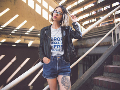 Trendy Girl Wearing a T-Shirt and a Leather Jacket While in Some Stairways Template a13558