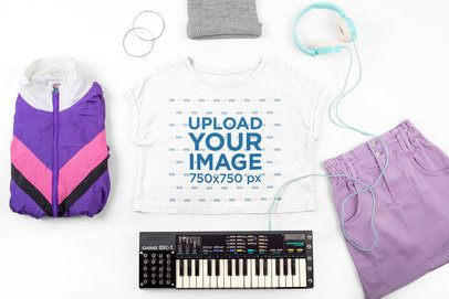 Crop Top Mockup Featuring a Female Keyboard Player's Outfit 43277