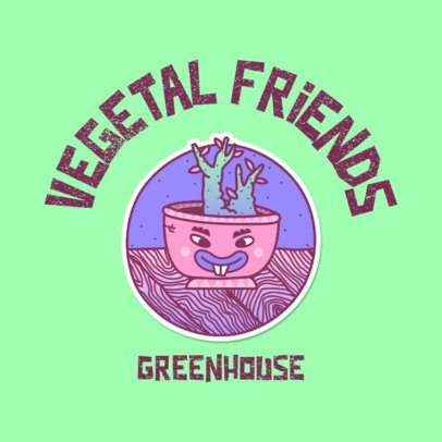 Logo Maker for a Plant Shop Featuring a Succulent Pot Cartoon 3683e