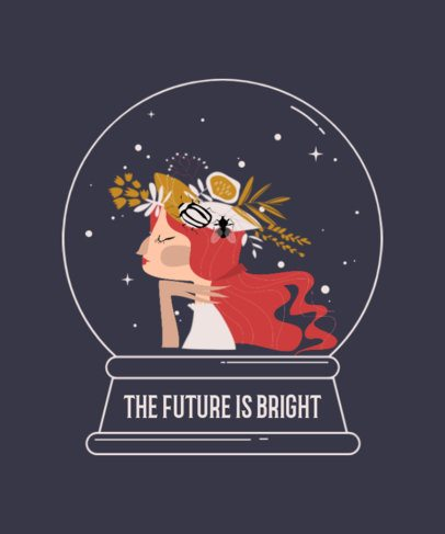 T-Shirt Design Creator with an Illustration of a Witch in a Crystal Ball 2924b-el1